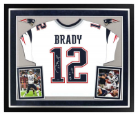 "Tom Brady Signed Patriots 36x44 Custom Framed LE Jersey Display Inscribed ""SB 51 MVP"" (Steiner COA) at PristineAuction.com"