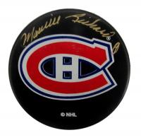Maurice Richard Signed Canadiens Logo Hockey Puck (PSA COA) at PristineAuction.com