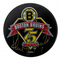Phil Esposito Signed Bruins Logo Hockey Puck (PSA COA) at PristineAuction.com