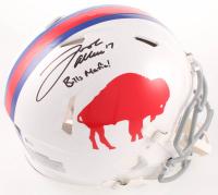 "Josh Allen Signed Bills Full-Size Authentic On-Field Throwback Speed Helmet Inscribed ""Bills Mafia!"" (Beckett COA) at PristineAuction.com"