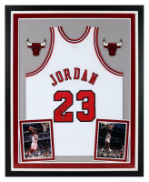 Michael Jordan Signed Bulls 36x44 Custom Framed Jersey Display (UDA COA) at PristineAuction.com