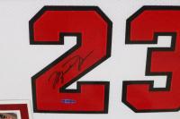 Michael Jordan Signed Bulls 36x44 Custom Framed Jersey Display (UDA COA) at PristineAuction.com