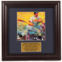 """LeRoy Neiman """"Mickey Mantle"""" 13x13 Custom Framed Print Display with Mantle Pin at PristineAuction.com"""