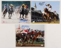 Lot of (3) Jockey Greats Hall of Famers Signed 8x10 Photos with Laffit Pincay Jr., Jose A. Santos & Jorge Velasquez (SOP COA) at PristineAuction.com