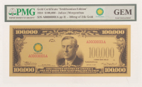 """1934 $100,000 Hundred Thousand Dollars """"Smithsonian Edition"""" Gold Certificate (PMG Gem Uncirculated) at PristineAuction.com"""