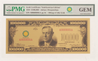 """1934 $100,000 Ten Thousand Dollars """"Smithsonian Edition"""" Gold Certificate (PMG Gem Uncirculated) at PristineAuction.com"""
