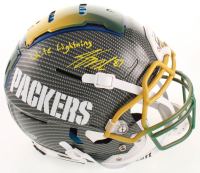 """Jordy Nelson Signed Packers Full-Size Authentic On-Field Hydro Dipped F7 Helmet Inscribed """"White Lightning"""" (Beckett COA) at PristineAuction.com"""