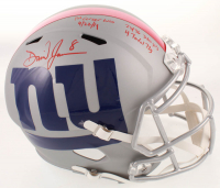 "Daniel Jones Signed Giants Full-Size AMP Alternate Speed Helmet Inscribed ""1st Career Win 9/22/19"", ""4 Total TDS"", ""23/36"" & ""326 YDS"" (JSA COA) at PristineAuction.com"