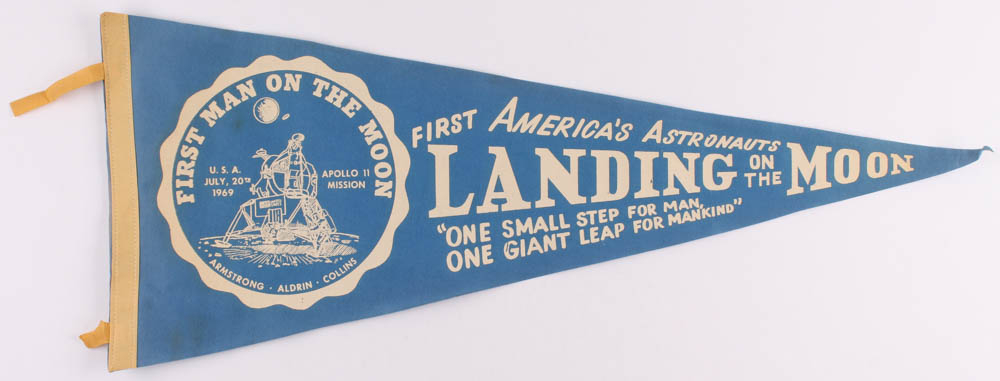 """1969 Vintage Original Apollo 11 """"First Landing on the Moon"""" Pennant (Neil Armstrong, Buzz Aldrin, & Michael Collins) at PristineAuction.com"""
