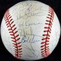 1989 Yankees OAL Baseball Team-Signed by (29) with Rickey Henderson, Don Mattingly, Frank Howard, Steve Sax, Tommy John, Jesse Barfield (JSA COA) at PristineAuction.com