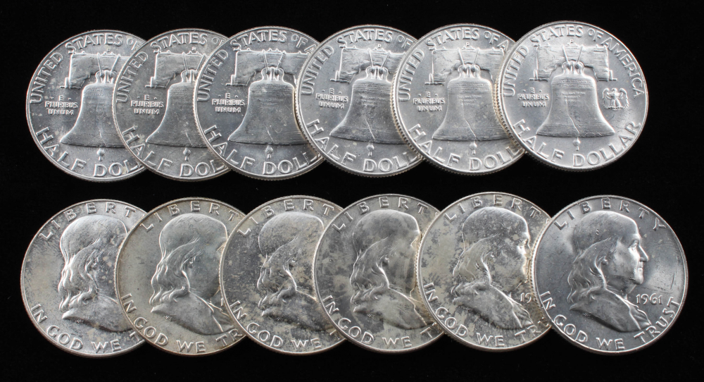 Lot of (12) 1961-1963 Franklin Half Dollar Coins at PristineAuction.com