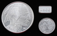 Lot of (3) .999 Fine Silver Bullion Bars with (1) Troy Ounce Round, (1) 1/10 Troy Ounce Round, & (1) 1 Gram Silver Bullion Bar at PristineAuction.com