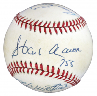 500 Home Run Club ONL Baseball Signed by (4) with Hank Aaron, Harmon Killebrew, Eddie Mathews & Ernie Banks with Inscriptions (JSA LOA) at PristineAuction.com