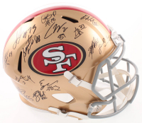 2018 San Francisco 49ers Full-Size Helmet Team-Signed by (25) with Jimmy Garoppolo, Arik Armstead, Ross Dwelley, Deforest Buckner, Kyle Juszczyk (PSA LOA) at PristineAuction.com
