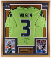 Russell Wilson Signed Seahawks 32x36 Custom Framed Jersey Display with Seahawks Pin (PSA COA & Wilson Hologram) at PristineAuction.com