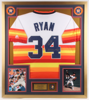 """Nolan Ryan Signed Astros 32x36 Custom Framed Jersey Display Inscribed """"Don't Mess With Texas!"""" with Astros Pin (PSA COA) at PristineAuction.com"""