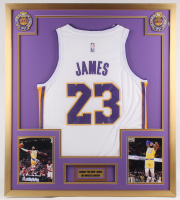 LeBron James Lakers 32x36 Custom Framed Jersey Display at PristineAuction.com