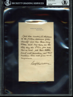 Benjamin Harrison Signed Hand-Written Letter (BGS Encapsulated) at PristineAuction.com
