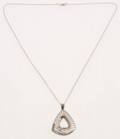 Silver Marcasite Open-Metalwork Triangular Pendant at PristineAuction.com