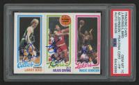 Larry Bird, Julius Erving & Magic Johnson Signed 1980-81 Topps #6 RC (PSA Encapsulated) at PristineAuction.com