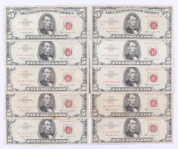 Lot of (10) 1963 $5 Five Dollar Red Seal U.S. Bank Note Bills at PristineAuction.com
