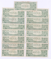 Lot of (15) 1957 U.S. $1 One Dollar Blue Seal Silver Certificate Notes at PristineAuction.com