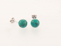 Sterling Silver Turquoise Ball Stud Earrings at PristineAuction.com