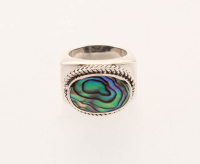 Sterling Silver Oval Abalone East-West Ring-SZ 8 at PristineAuction.com