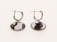 Silver Oval White Buffalo Beaded Drop Earring at PristineAuction.com
