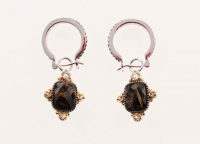 Silver Rutilated Quartz Doublet Drop Earrings at PristineAuction.com