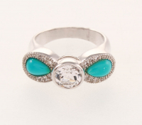 Silver Turquoise & White Topaz Bow Ring-SZ 8 at PristineAuction.com