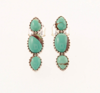 Sterling Silver Mine#8 Turquoise 3-Stone Earrings at PristineAuction.com