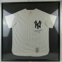 "Mickey Mantle Signed Yankees 43x43 Custom Framed Jersey Display Inscribed ""No. 7"" (UDA Hologram) at PristineAuction.com"
