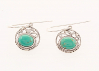 Silver Oval #8 Turquoise Textured Drop Earrings at PristineAuction.com