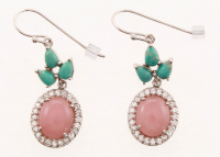 Silver Campo Turquoise & Guava Quartz Drop Earring at PristineAuction.com