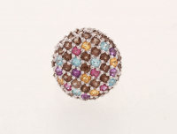 Silver 3.42ctw Pave Multi Gemstone Button Ring-SZ6 at PristineAuction.com