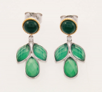 Silver Green Agate Doublet Leaf Drop Earring at PristineAuction.com
