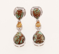 Silver Turquoise & Citrine 3-Stone Drop Earrings at PristineAuction.com