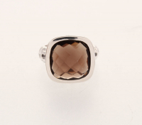 Sterling Silver 6.88ctw Checkerboard Cut Gemstone Ring-Sz 7 at PristineAuction.com