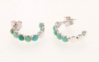 Silver Multi Turquoise Inside-out Hoop Earrings at PristineAuction.com
