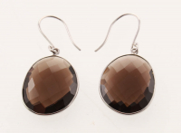 Sterling Silver Smoky Quartz Earrings at PristineAuction.com