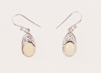 Sterling Silver Oval Ethiopian Opal Drop Earrings at PristineAuction.com