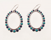 Sterling Silver Turquoise and Lapis Hoop Earrings at PristineAuction.com