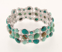 "Silver Multi Turquoise Three Row Bracelet 7.2"" at PristineAuction.com"