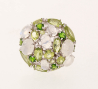 Silver Moonstone & Gemstones Dome Shaped Ring-SZ 9 at PristineAuction.com