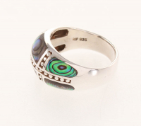 Sterling Silver Abalone Inlay Beaded Ring-SZ 8 at PristineAuction.com