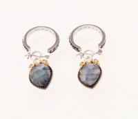 Silver Moonstone Black Onyx Doublet Drop Earrings at PristineAuction.com