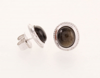 Silver Velvet Obsidian Rope Textured Stud Earrings at PristineAuction.com