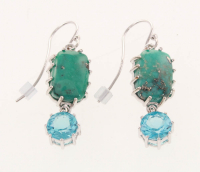 Silver 3.42ct Blue Topaz & Turquoise Drop Earrings at PristineAuction.com