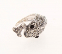 Sterling Silver Marcasite & Agate Fish Ring-SZ 8 at PristineAuction.com